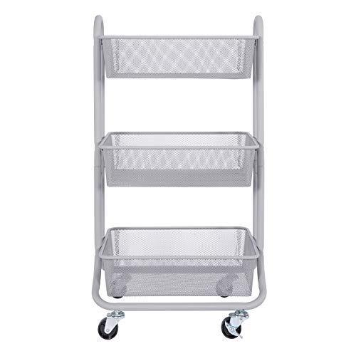 DESIGNA 3-Tier Metal Mesh Rolling Storage Cart with Utility Handle, Gray -