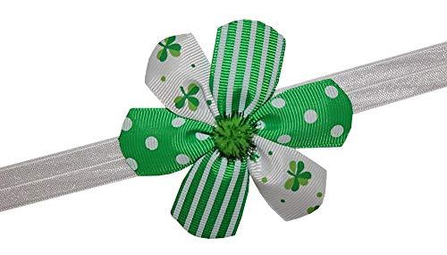 (WD2U Baby Girls Infant St Patricks Green Custom Flower Hair Bow Stretch Headband)