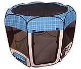 Blue Grid Pet Dog Cat Tent Puppy Playpen Exercise Pen L