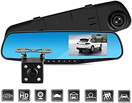 Naladoo Car HD 3.2 1080P Rearview Mirror Dash Camera DVR Cam Video Recorder G-Sensor Golden
