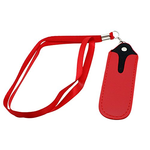 Faux Leather Pouch case Necklace LANYARD FOR Ecig EGO (red)