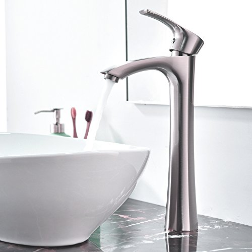 KINGO HOME Contemporary Single Handle Tall Vessel Sink Brushed Nickel Bathroom Faucet, Basin Mixer Tap