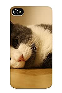 8fd748c1394 With Unique Design Iphone 4/4s Durable Tpu Case Cover Floor White Cats Animals Gray