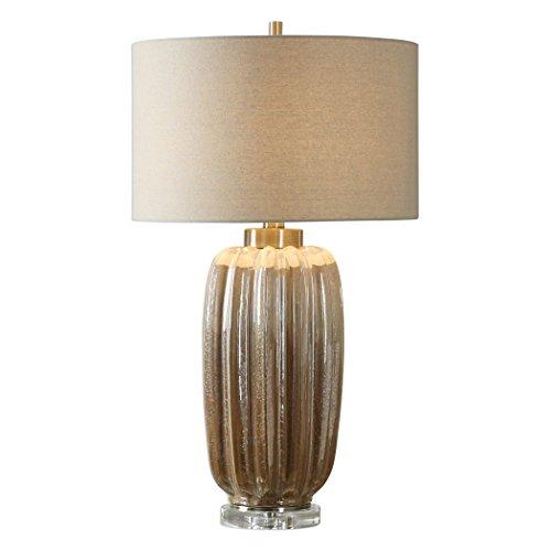Elegant Ribbed Ceramic Earth Tones Table Lamp | Pearlescent Brown Tan (Ribbed Crystal Table Lamp)