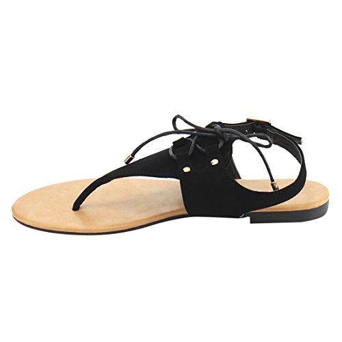 ... Anna Ie03 Kvinners Snøre På T-stropp Stud Thong Flat Sandal Sort ...