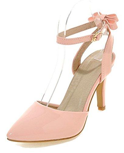 Aisun Womens Elegant Chic Geborduurd Gepolijste Puntschoen Stiletto Hoge Hakken Enkelbandje Sandalen Schoenen Met Strikjes Roze