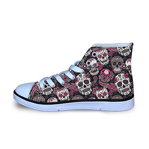 Coloranimal Basic Lace Up Canvas Shoes Unisex Child Kids Comfort Breath Cushion Trainer Footwear Classic Sugar Skulls Design High Top Vulcanized Shoe Footwear