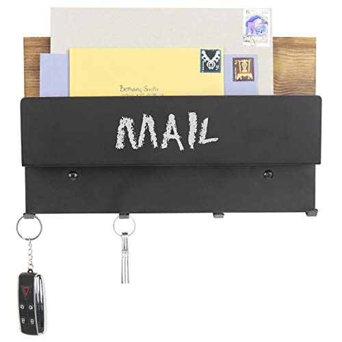 MyGift Rustic Wood & Black Metal Chalkboard Letter Holder with 4-Key Hooks by MyGift (Image #3)