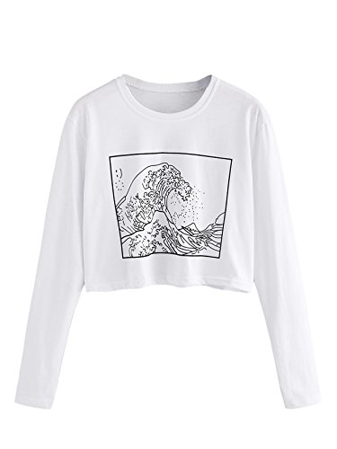 Girl Junior Ringer T-shirts - SweatyRocks Women's Striped Ringer Crop Top Summer Long Sleeve T-Shirts White M