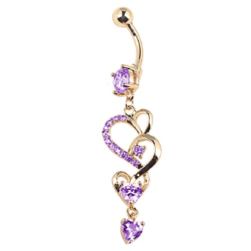 Joylive Love Heart Crystal Gem Navel Buckle Belly Ring Piercing Body Diamond Inlaid Nail Button - Crystal Heart Navel Ring
