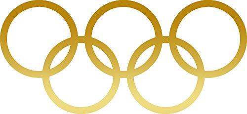 (ANGDEST Olympic Rings (Metallic Gold) (Set of 2) Premium Waterproof Vinyl Decal Stickers for Laptop Phone Accessory Helmet Car Window Bumper Mug Tuber Cup Door Wall Decoration)
