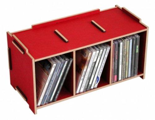 Werkhaus Porte-CD en MDF Rouge Taille M
