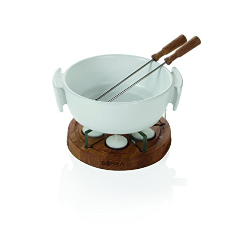 Boska Holland Tea light Fondue Set with Oak Wood Base, 1 L White Stoneware Pot, Life Collection by Boska Holland (Image #1)