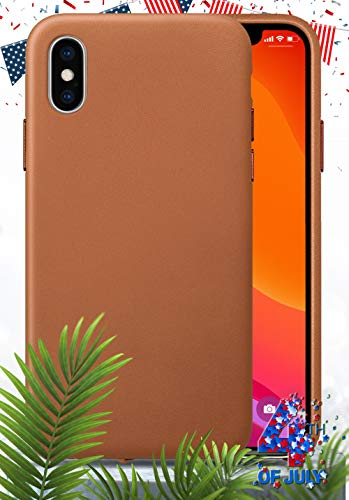 LONLI Edition - Happy 4th | iPhone Genuine Premium Nappa Leather Case | Minimal Design with The Finest Leather at Your Fingertips | Softer, Smoother and Tougher (Caramel Edition, iPhone Xs Max)