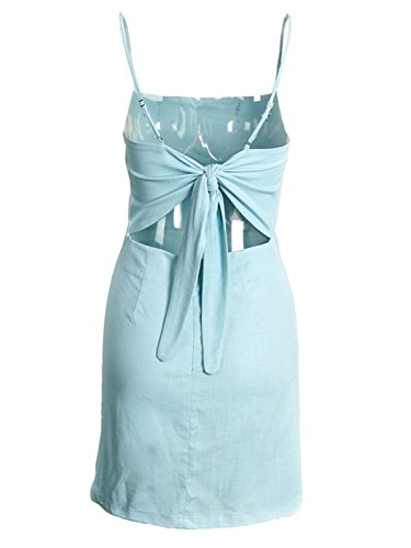 BerryGo Women's Sexy Cut Out Back Bow Spaghetti Strap Bodycon Mini Dress Light Blue