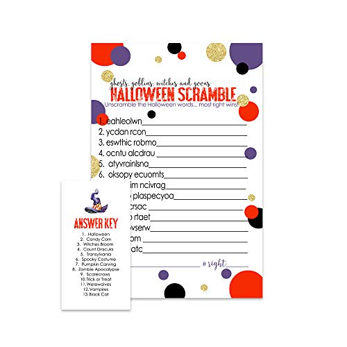 Halloween Party Game Word Scramble | Set of 25 -