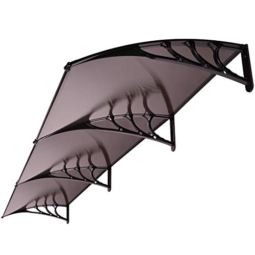 Polycarbonate Window - VIVOHOME Polycarbonate Window Door Awning Canopy Brown with Black Bracket 40 Inch x 120 Inch