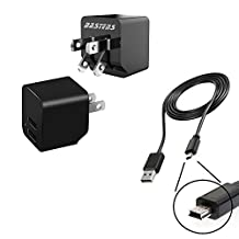 2in1 dual mini wall outlet charger with double USB power ports & sized pocket for travel 2.4 Amp 12W with USB charge cable designed for the Phonak Venture ComPilot Air II Roger inspiro TVLink S