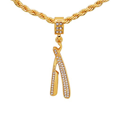 Yellow Gold-Tone Bling Hip Hop Pave Stones Straight Razor Blade Pendant with 24