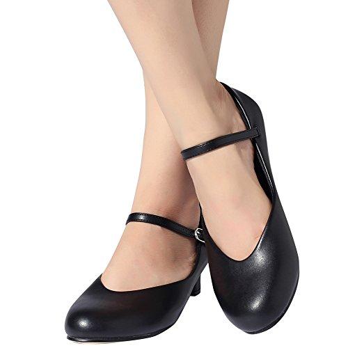 STELLE Shoe Dance Kid Big 1 5'' Character Black Shoes Women 7rB7qpnx