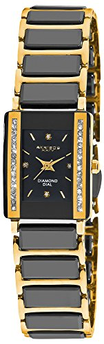 Two Row Diamond Watch (Akribos XXIV Women's AK522BKG Quartz Movement Watch with Black Dial and Yellow Gold and Black Ceramic Bracelet)