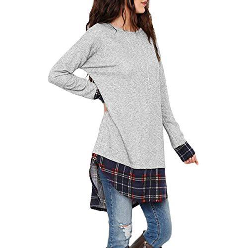 Plaid Larga Manga Patchwork Top O Low De Camisetas Irregular High Gray Tunic neck Mujeres awxTHrYa