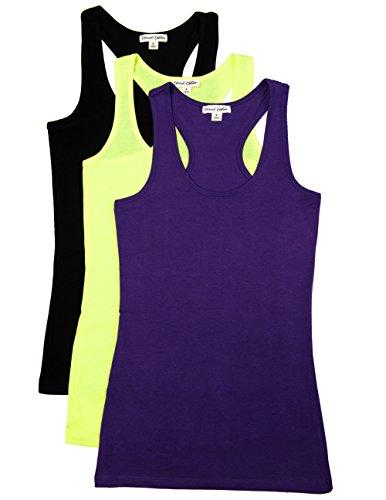- Caramel Cantina 3 Pack Cotton Racerback Tanktop (Small, Purple/N.Yellow/Black)