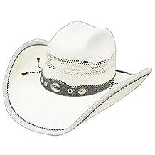 Modestone Straw Cowboy Hat Genuine Cow Leather Hair On Trim & Hatband White