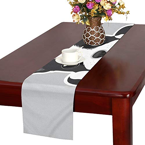 Portrait Boston Terrier Puppy Table Runner, Kitchen Dining Table Runner 16 X 72 Inch for Dinner Parties, Events, Decor