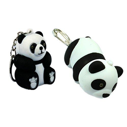 2pcs/lot Panda Shaped Led Key Chain Flashlights with Sound