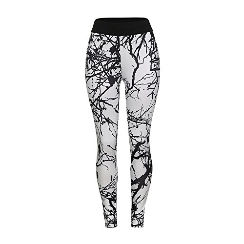 Clearance ZEFOTIM Women's New Print Leggings Casual Sports Yoga Pants Pencil Pants(Large,White)