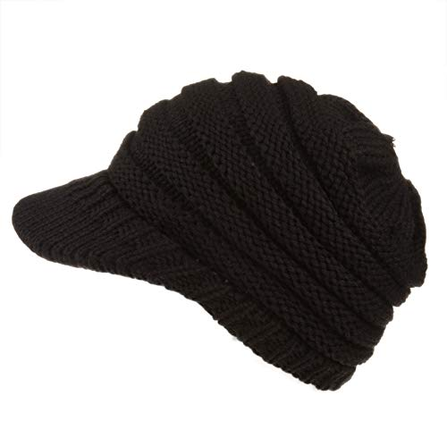 Spikerking Womens Trendy Outlet Tail Hat Soft Stretch Knit Warm Winter Beanie,Black
