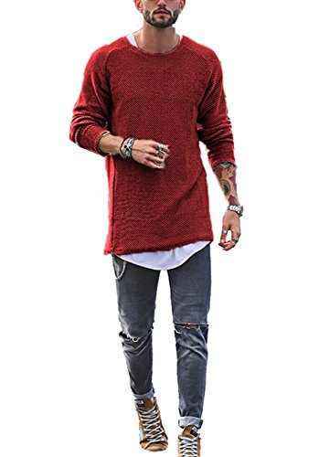 SurBepo Mens Casual Solid Round Neck Long Sleeve Knit Sweaters (Red XL) by SurBepo