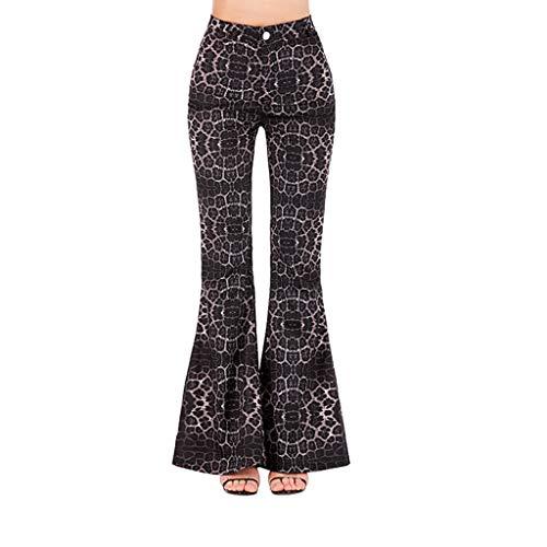 High Waist Print Horn Pants Women Autumn Elastic Plus Loose Casual ()