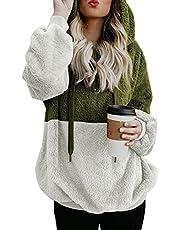 BLENCOT Womens Casual Loose Baggy Hoodies Color Block Warm Fuzzy Pullover Hooded Soft Work Sweatshirt Outwear Coat Tops