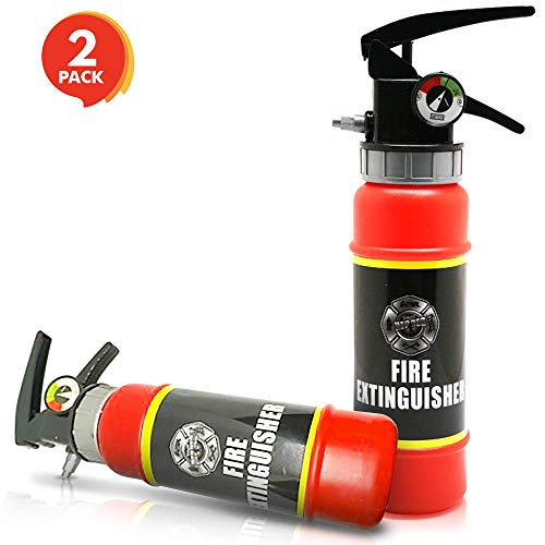 ArtCreativity Fire Extinguisher Squirter Toy - Pack of 2 - 9 Inch Water Extinguisher with Realistic Design - Fun Outdoor Summer Toy for Boys and Girls - Great Fireman Toy