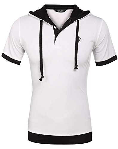 Coofandy Men's Casual Short Sleeve T-shirt Patchwork Hooded Polo Shirts - Short Sleeve Hooded Tee