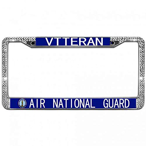 Hanmen Tye White Bling Crystal United States Air Force License Plate Metal Frame,Air National Guard Veteran Bling License Plate Frame,Zinc Metal Frame Car Licenses Plate Cover