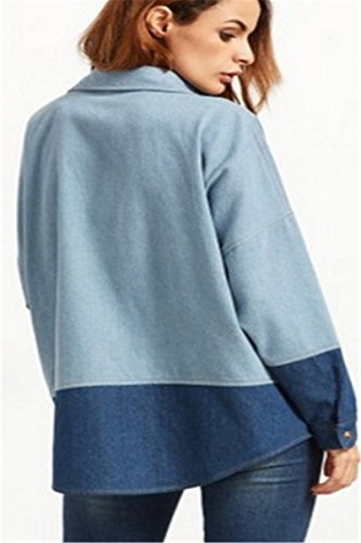 IWFREE Damen Mantel Denim Jacke Klassische Mädchen Frauen Herbst Beiläufig Stilvoll Drucken Distressed Gewaschene Lose Jeans Loch Jacket Oberbekleidung Coat