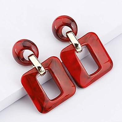 Statement Mottled Acrylic Drop Dangle Earring Geometric Resin Hoop Lightweight Dangle Boho Earrings for Women and Girls
