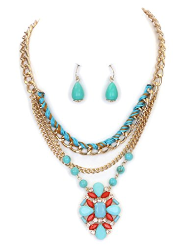 - Fashion Jewelry ~Blue Red Lucite Stone Beads Pendant Necklace and Earrings Set