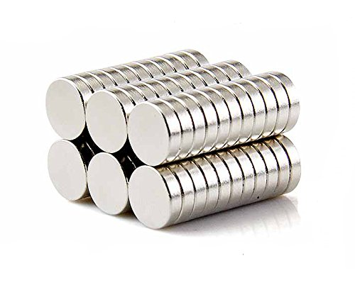 Small Multi-Use Refrigerator Magnets for Refrigerator, Science, Crafts - Tiny Round Disc, Sliver, 5MM x 2MM, 60 Pcs ()