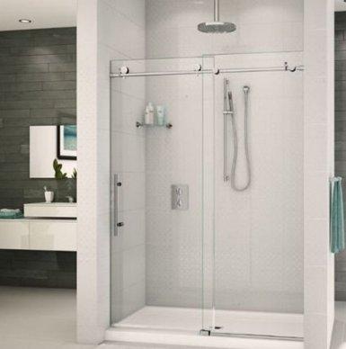 STRONGAR Frameless Sliding Shower Door Hardware Track Kit 6.5FT ...