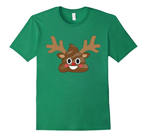Men's Funny Christmas Emoji Poop Reindeer T-Shirt - Rudol...