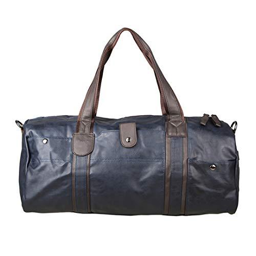 Male Travel Bag Leather Shoulder Vintage Duffle H bag Large Capacity Crossbody Daily Life Tote Bag Blue length 49cm