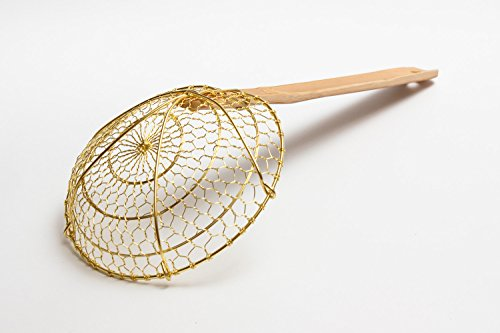 Craft Wok Chinese Brass Skimmer/Strainer 6 inch Diameter Spider with Bamboo Handle / 732W7