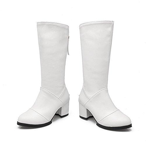 AllhqFashion Damen Mittler Absatz Hoch-Spitze Rein Reißverschluss Stiefel Weiß