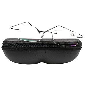 SOOLALA High End Lightweight Titanium Stainless Steel Rimless Magnifying Reading Glasses, Black, +1.5D