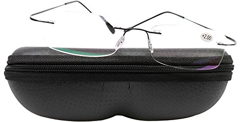 SOOLALA High End Lightweight Titanium Stainless Steel Rimless Magnifying Reading Glasses, Black, - Cheap Reading Glasses Rimless