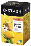 Stash Tea Lemon Ginger Herbal Tea 20 Count Box of Tea Bags Individually Wrapped in Foil (Pack of 6), Premium Herbal Tisane, Citrus-y Warming Herbal Tea, Enjoy Hot or Iced